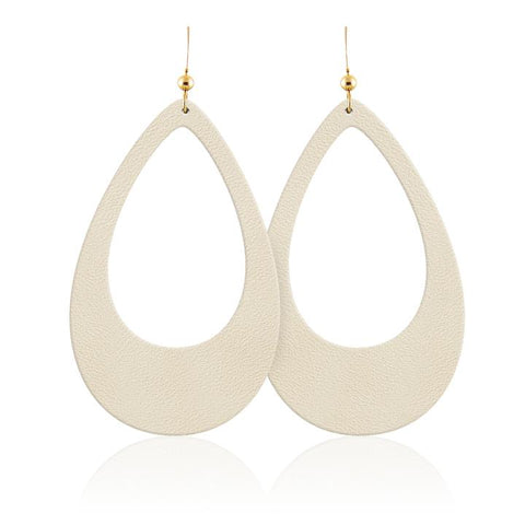 Sand Cutout Teardrop Leather Earring