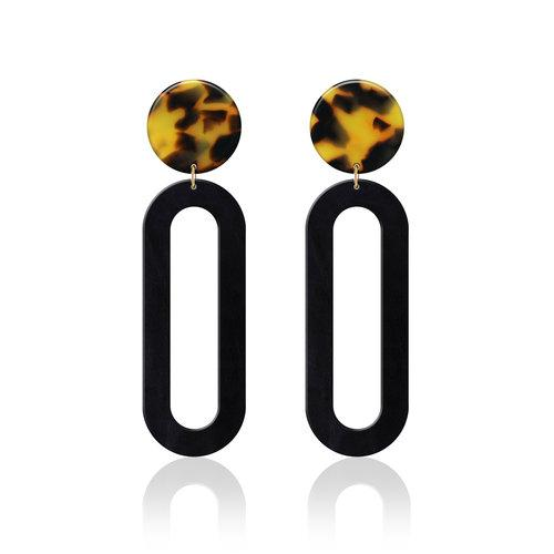 Monroe Tortoise Leather Earrings