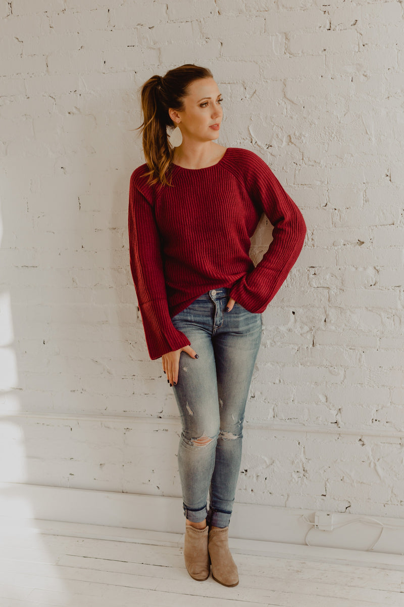 Cutout Bell-Sleeve Crew-Neck Sweater Top