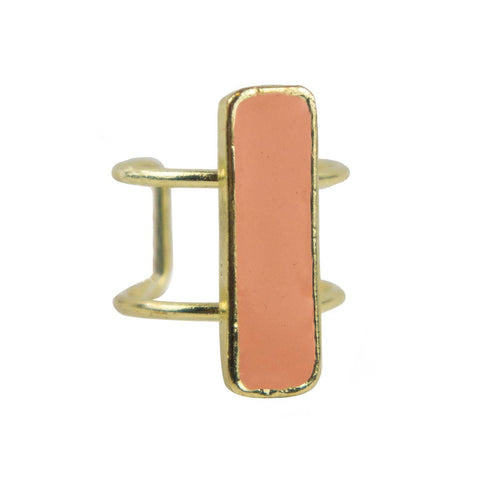 Bar Ring in Peach