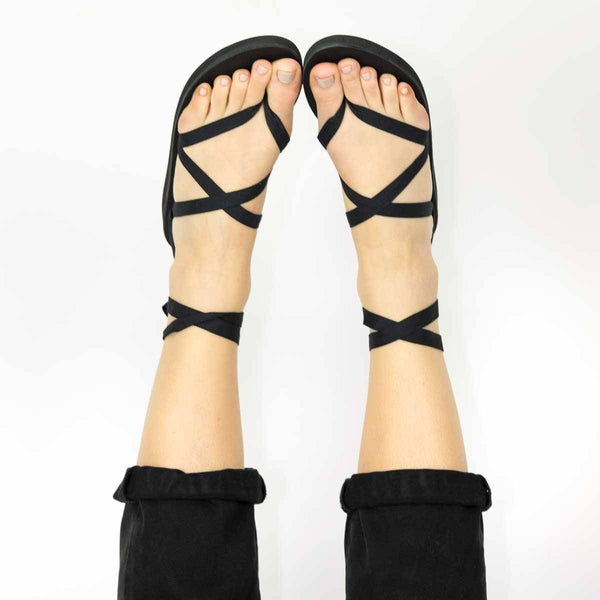 Black Leather Ribbon Sandal