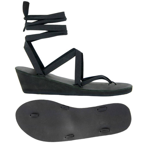 Black Leather Wedge Ribbon Sandals