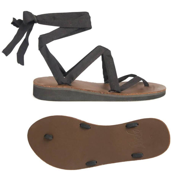 Brown Leather Ribbon Sandals