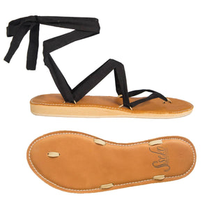 Stitched Caramel Ribbon Sandals