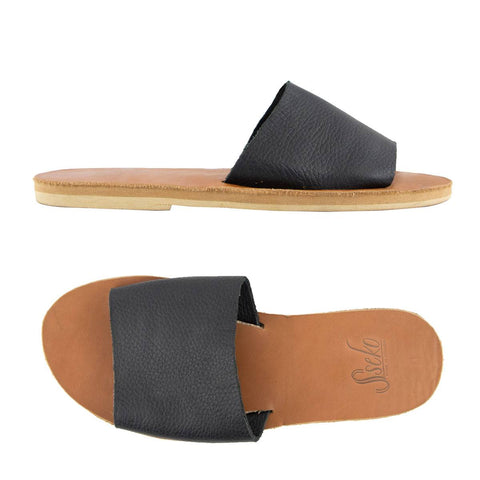 Classic Slide in Black & Caramel