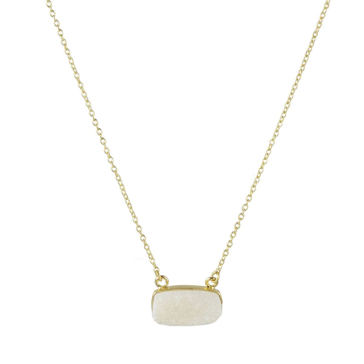 Druzy Bar Necklace in Ivory