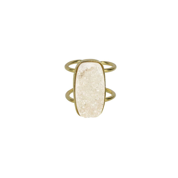 Druzy Bar Ring in Ivory