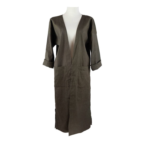 Open-Front Duster in Olive Linen