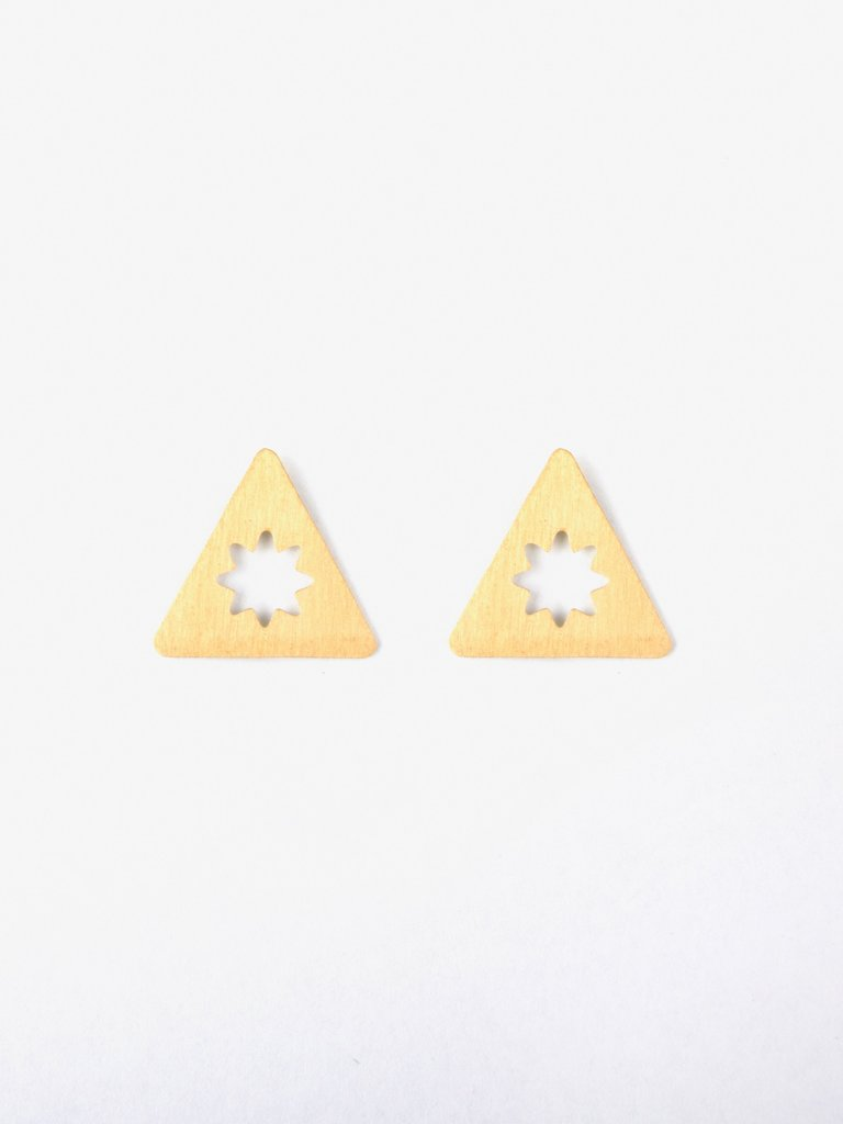 Etched Star Studs