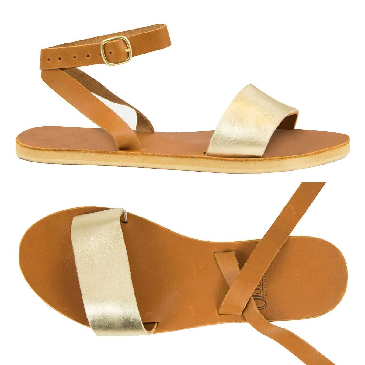 Rue Sandal in Gold and Caramel