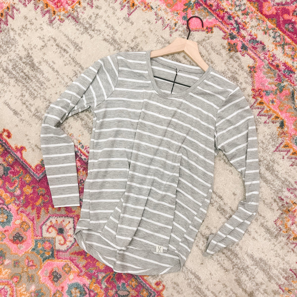 Long Sleeve Scoop Neck Tee - Greyhound Stripe