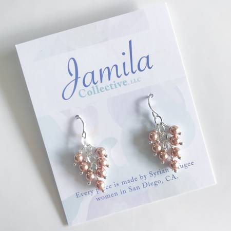 Ranim Earrings - Rose Gold Pearl