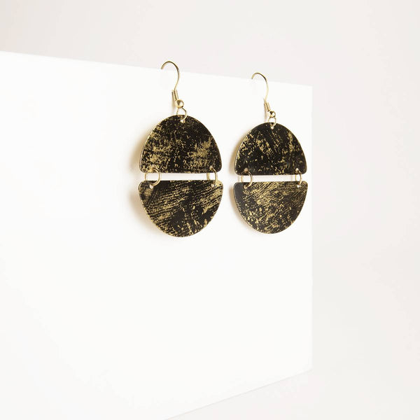 Patina Double Crescent Earrings