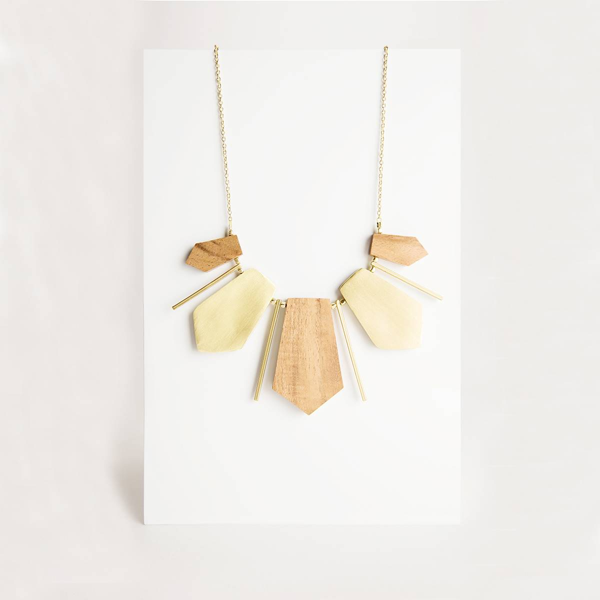 Wood and Brass Collar Necklace