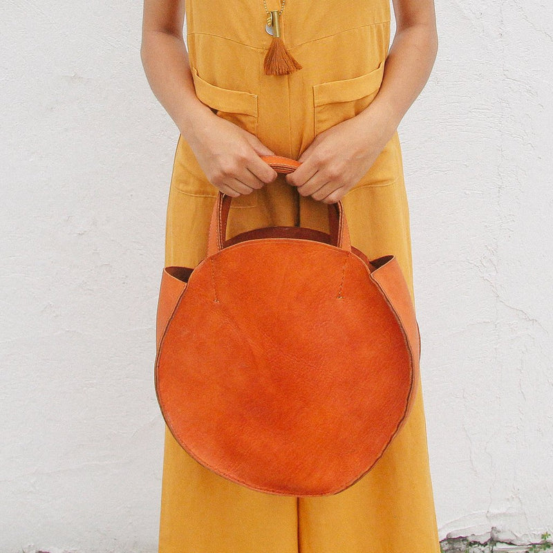 Handmade Round Leather Bag
