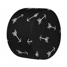 "Load image into Gallery viewer, Pouf Ottoman 12"" (Arrows) - Black"