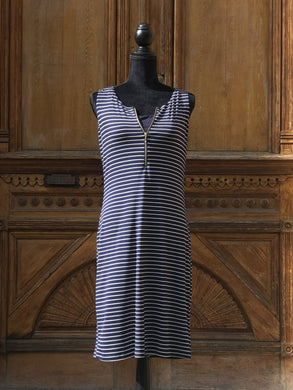 Emmy Organic Bamboo Dress - Navy Stripe