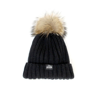 Beanie with Removable Pom-Pom - Black