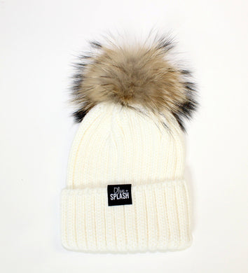 Beanie with Removable Pom-Pom - White