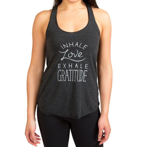 """Inhale Love Exhale Gratitude"" Women's Tank - Ash Black"
