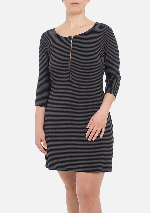 Melly Organic Bamboo Dress - Grey Stripe
