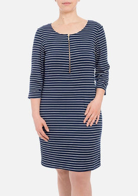 Melly Organic Bamboo Dress - Navy Stripe
