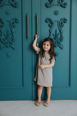 Taupe Shift Dress - SLATE AND PEARL