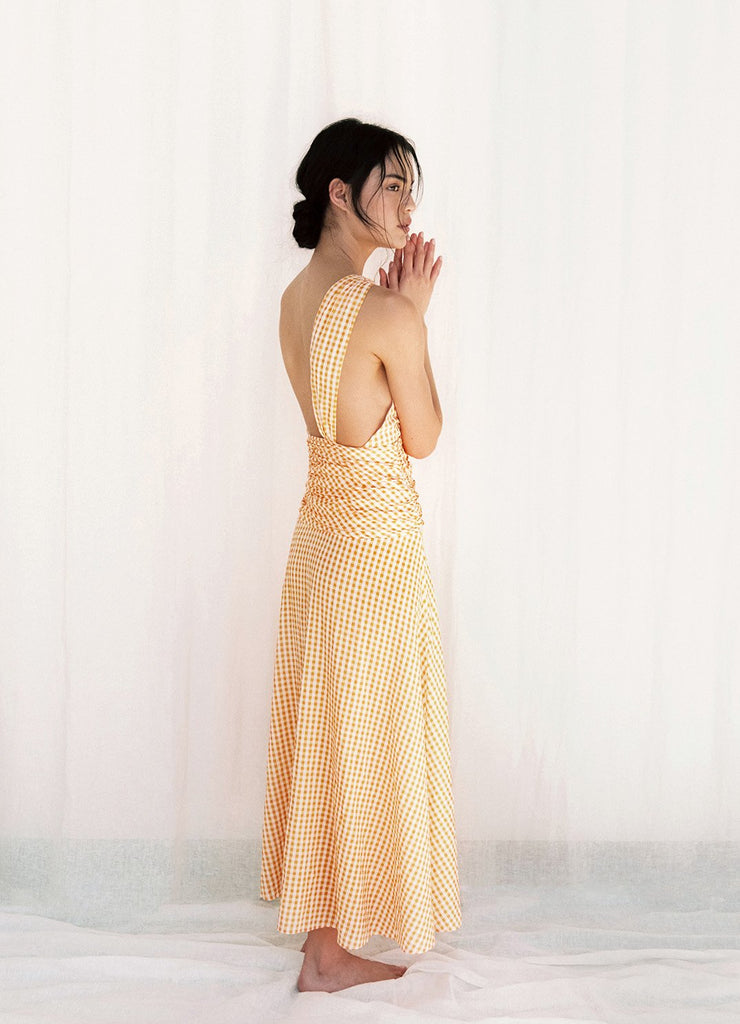 Mandarin One Shoulder Midi Dress