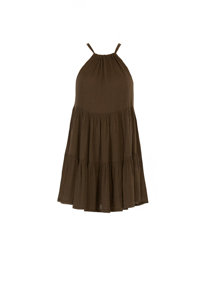 Chocolate Tiered Mini Dress