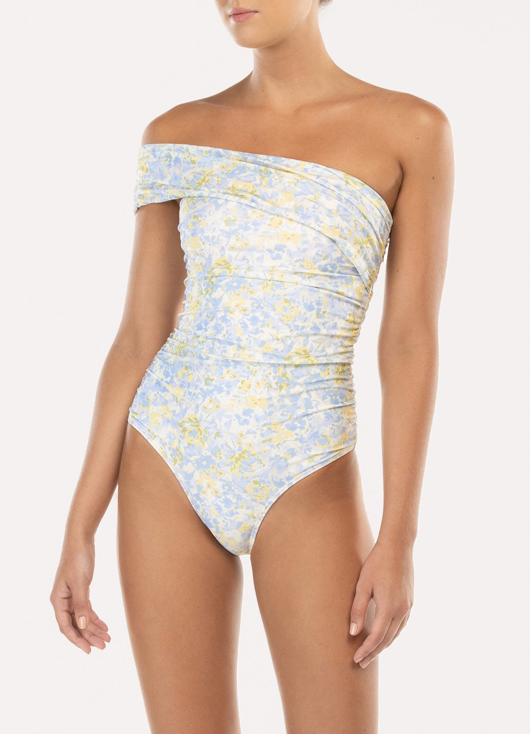 Forget Me Not Ruched One Shoulder One Piece