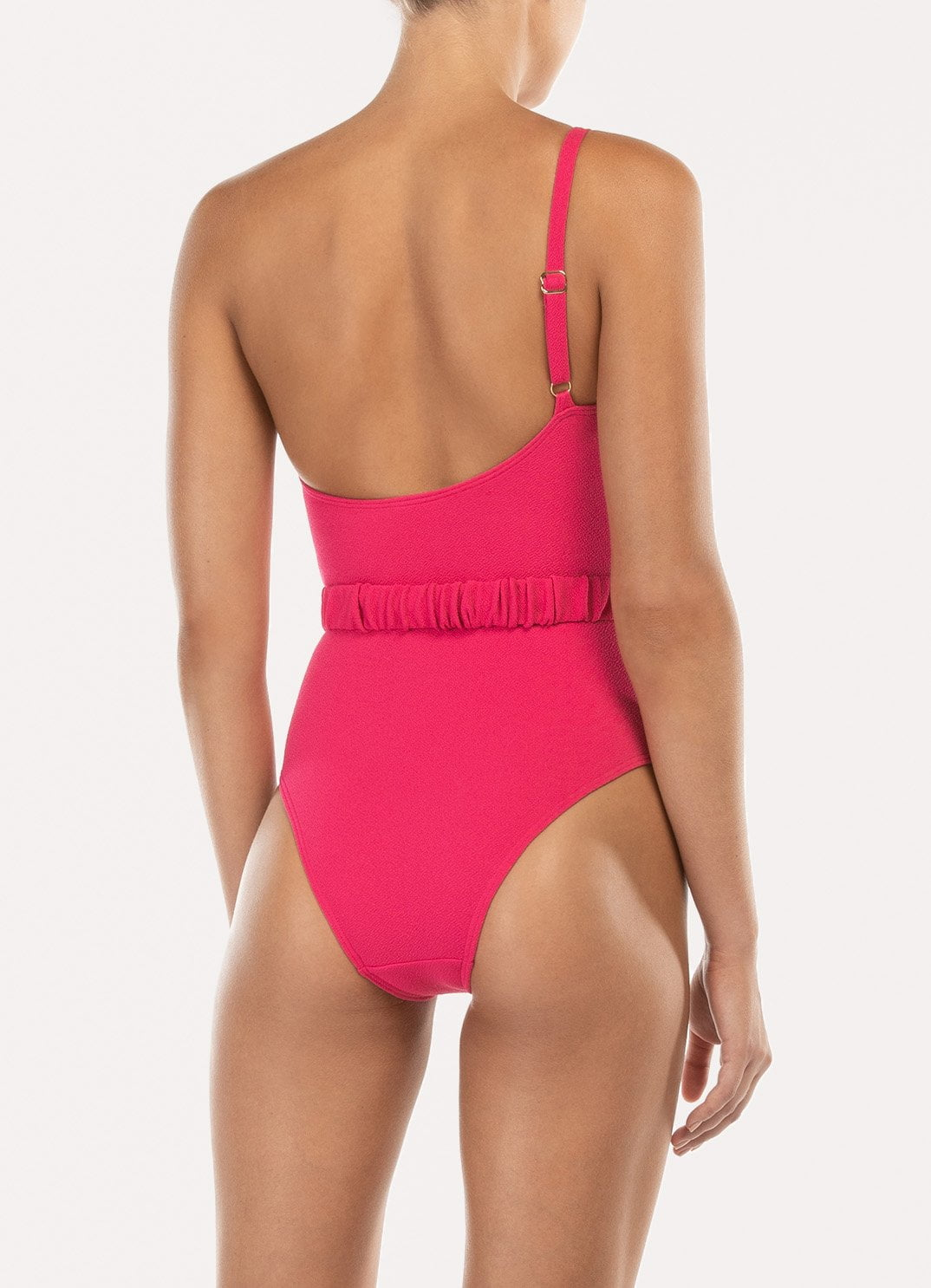 Fuchsia Belted One Shoulder One Piece