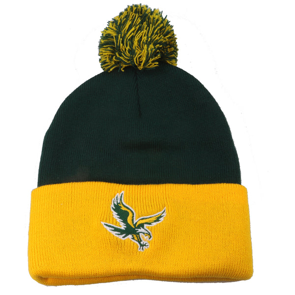 Green and Gold Pom Pom Beanie