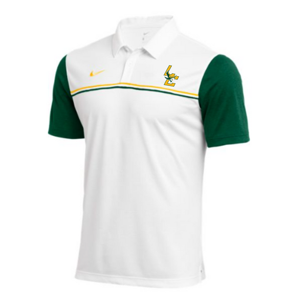 Nike White and Green Polo