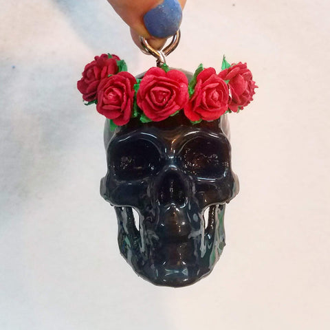 Skull Ornament, Rear view Mirror Skull, Flower Crown Skull, Grateful Skull