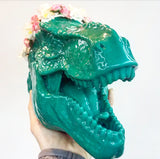 HUGE Hippie Dinosaur, Faux Taxidermy, T-Rex with Flower Crown Wall Decor