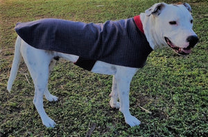 wool blend dog coat; grey check outer with red wool flannel lining, available in 5 sizes to suit all dogs
