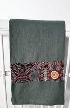 Load image into Gallery viewer, Linen tea towel, indigenous design tea towel, Australian Aboriginal artist, Kokos String by Audrey Martin Napanangka on green linen