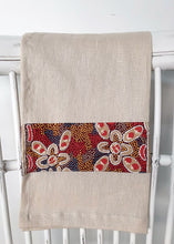 Load image into Gallery viewer, Linen tea towel, indigenous design tea towel, Australian Aboriginal artist, Bush Tomato by Audrey Martin Napanangka on oat colouredlinen