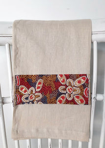 Linen tea towel, indigenous design tea towel, Australian Aboriginal artist, Bush Tomato by Audrey Martin Napanangka on oat colouredlinen
