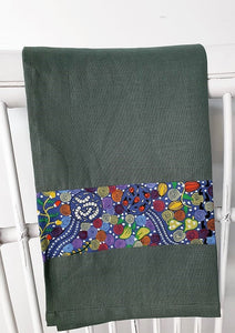 Linen tea towel, indigenous design tea towel, Australian Aboriginal artist, Corroboree by Donna McNamara on green linen