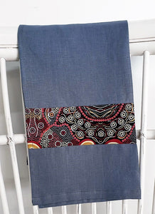 Linen tea towel, indigenous design tea towel, Australian Aboriginal artist, Kokos String by Audrey Martin Napanangka on denim blue linen