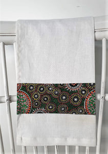 Linen tea towel, indigenous design tea towel, Australian Aboriginal artist,Fresh Life After Rain by Christine Doolan on white linen