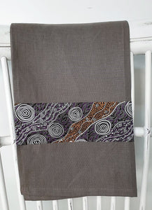 Linen tea towel, indigenous design tea towel, Australian Aboriginal artist, Bush Camp by Audrey Martin Napanangka on brown linen