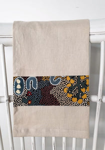 Linen tea towel, indigenous design tea towel, Australian Aboriginal artist, Bush Sultana by Audrey Martin Napanangka on oat coloured linen