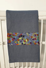 Load image into Gallery viewer, Linen tea towel, indigenous design tea towel, Australian Aboriginal artist, Corroboree by Donna McNamara on denim blue linen