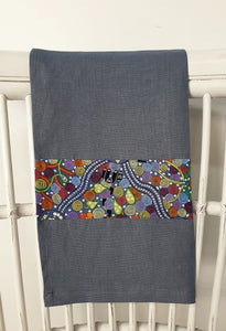 Linen tea towel, indigenous design tea towel, Australian Aboriginal artist, Corroboree by Donna McNamara on denim blue linen