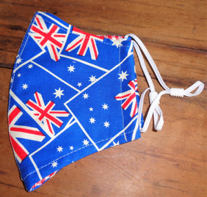 reusable fabric face mask fashion navy featuring an Australian Flag design in red, white and blue. Ideal for Australia day festivities. Featuring adjustable elastic straps and popular during the 2020 Covid 19 pandemic.