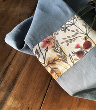 Load image into Gallery viewer, blue linen tea towel with warm autumn coloured trim. Linen is super absorbent and improves with age. Handmade with all Australian Attitude. Made in Australia from European linen. Generous size.