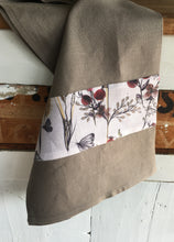 Load image into Gallery viewer, Crisp pewter coloured linen tea towel with a berry print feature. Great for drying glasses and beautiful enough to carry to the dining table. Traditional style manchester with a modern edge.