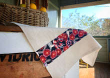Load image into Gallery viewer, Linen tea towel with Australian homestead influence. Trimmed with gumnut indigenous or Australian art